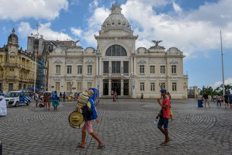 Historic palace of the Rio Branco at Salvador Bahia on Brazil. Salvador, Brazil - 5 february 2019: historic palace of the Rio Branco at Salvador Bahia on Brazil stock image