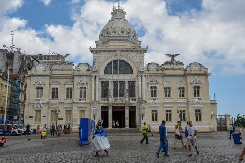 Historic palace of the Rio Branco at Salvador Bahia on Brazil. Salvador, Brazil - 5 february 2019: historic palace of the Rio Branco at Salvador Bahia on Brazil stock photos