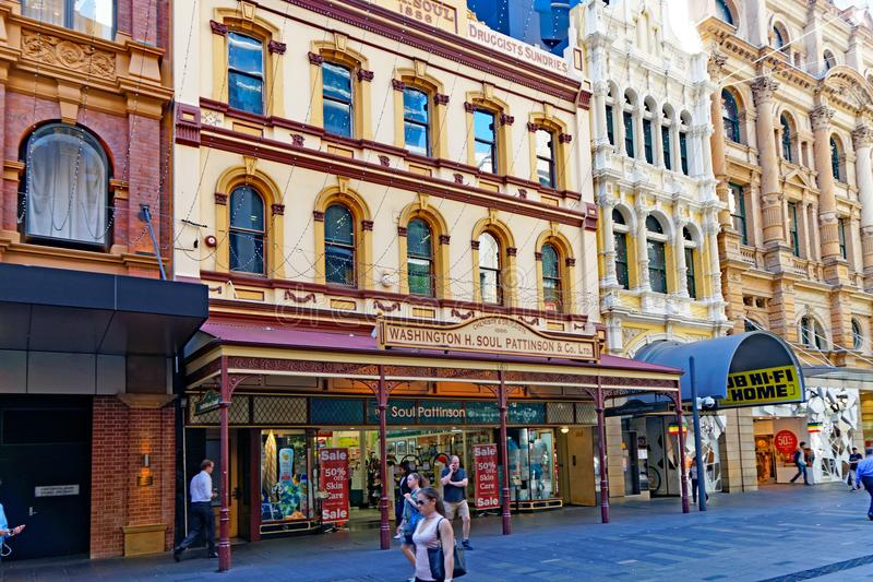 Historic Pharmacy Shop, Sydney, Australia. An historic preserved chemist shop, pharmacy or drug store, in Pitt Street Mall, Sydney, NSW, Australia royalty free stock photography