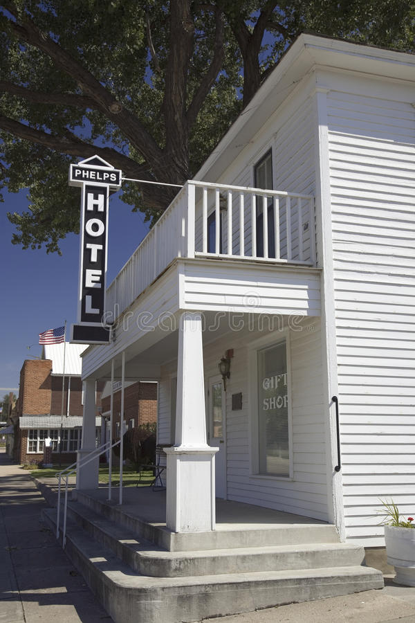 The Historic Phelps Hotel. Big Springs, Nebraska, built in 1885 by the Edwin A. Phelps family, just off the historic Lincoln Highway, US 30 stock photos