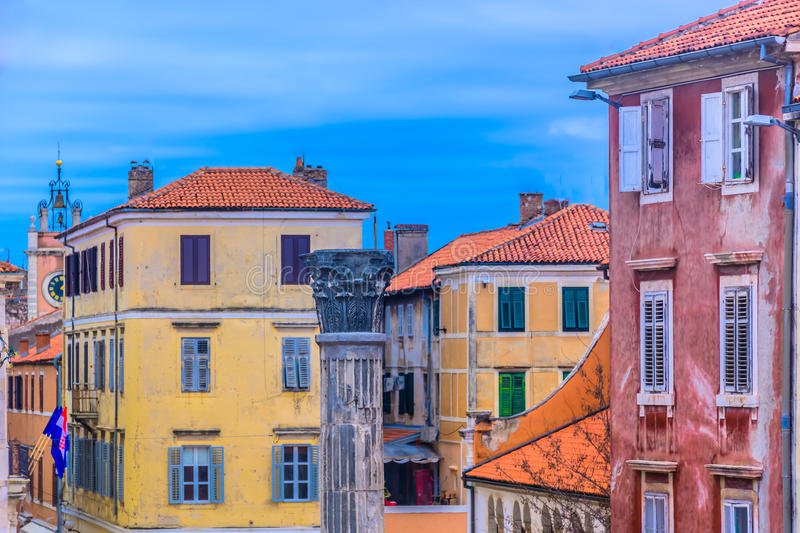 Historic place Zadar in Croatia, Europe. Colorful scenic at Zadar town, popular summer travel destination in Europe, Croatia stock photo