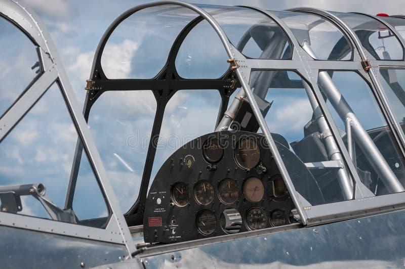 Historic Plane Cockput Under Restoration. Detail royalty free stock image
