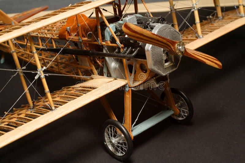 Historic plane construction. Historic plane wooden construction - model 1:48 scale - extremely close up royalty free stock images
