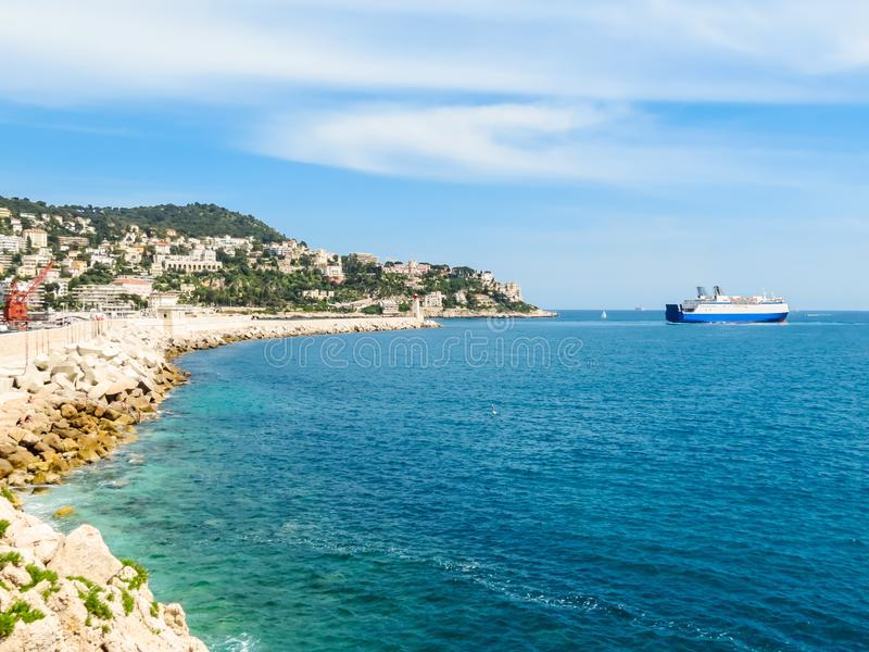 Historic port area of Nice. Embankment and Old port of Nice, France stock photos