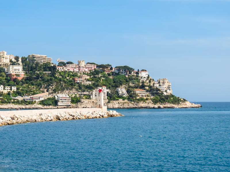 Historic port area of Nice. Embankment and Old port of Nice, France stock photo