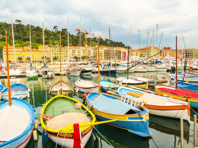 Historic port area of Nice. Fishing boats in the Port of Nice, France royalty free stock photo