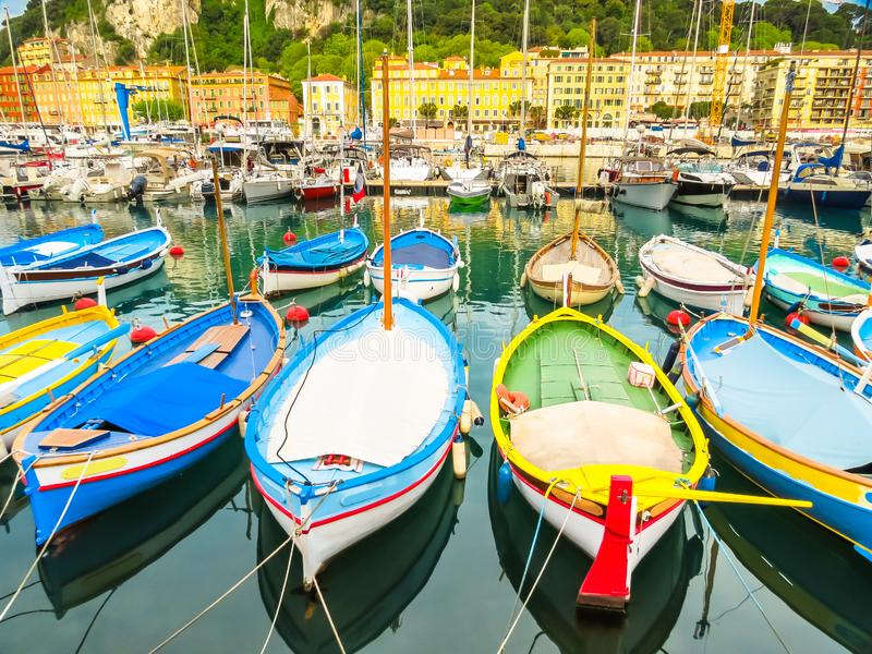 Historic port area of Nice. Fishing boats in the Port of Nice, France stock photo