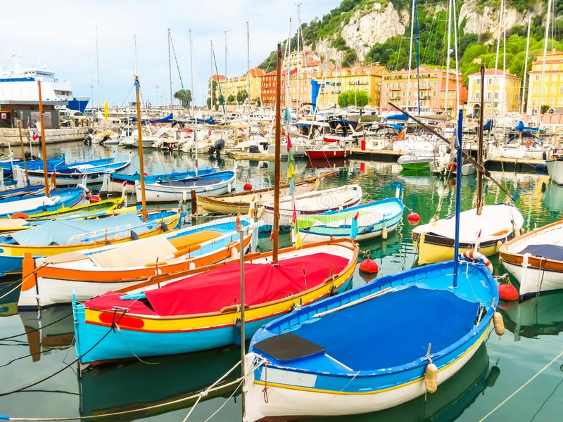 Historic port area of Nice. Fishing boats in the Port of Nice, France stock image