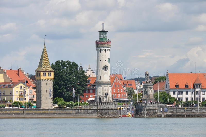 Historic port of Lindau at lake constance stock photography