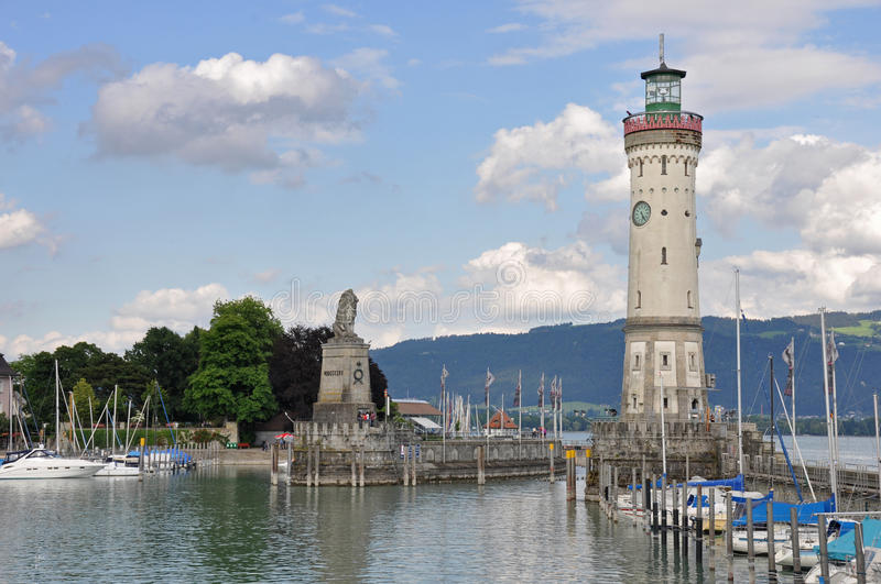 Historic port of Lindau at lake constance royalty free stock photos