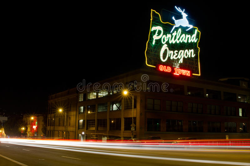 Historic Portland Old Town Sign Light Trails royalty free stock photos