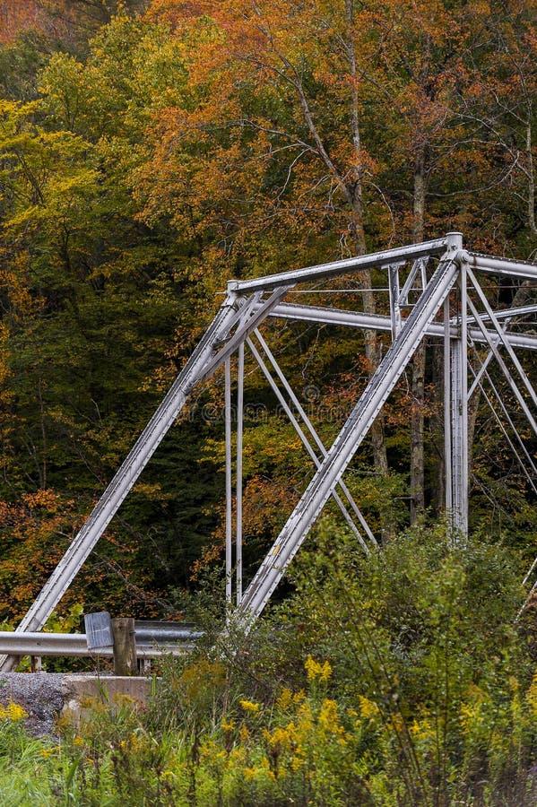 Historic Pratt Truss Bridge - East Fork Greenbrier River, West Virginia. An autumn view of a historic one-lane Pratt through truss bridge over the East Fork stock image