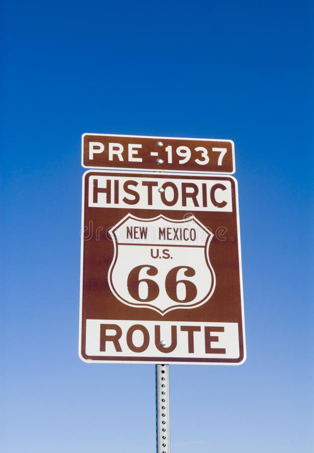 Historic Pre 1937 New Mexico Route 66 Sign. Sign showing the historic pre 1937 Route 66 in New Mexico royalty free stock photo