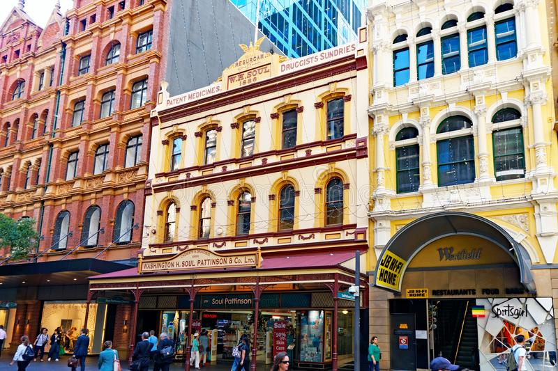 Historic Pharmacy Shop, Sydney, Australia. An historic preserved chemist shop, pharmacy or drug store, in Pitt Street Mall, Sydney, NSW, Australia stock photography