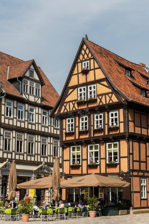Medieval Buildings in Quedlinburg, Germany stock image