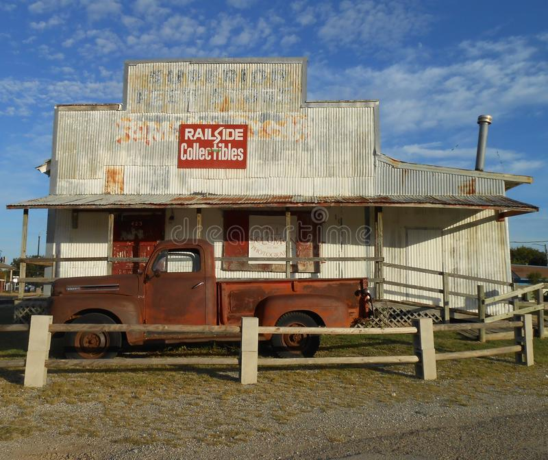 Historic rail road station. Vintage old truck royalty free stock images