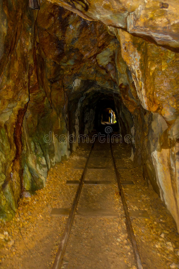 Historic rail tunnel, a part of an old gold mine transportation system located in North Island in New Zealand stock photo