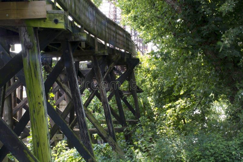 Historic railroad bridge Marietta Ohio. A very old and historic railroad bridge across the Muskingham River at Marietta Ohio, built on the original supports for royalty free stock photography