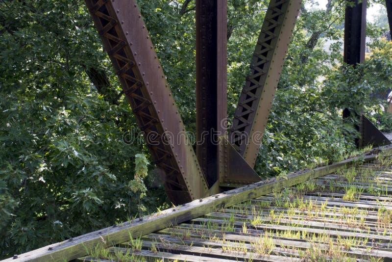 Historic railroad bridge Marietta Ohio. A very old and historic railroad bridge across the Muskingham River at Marietta Ohio, built on the original supports for stock images