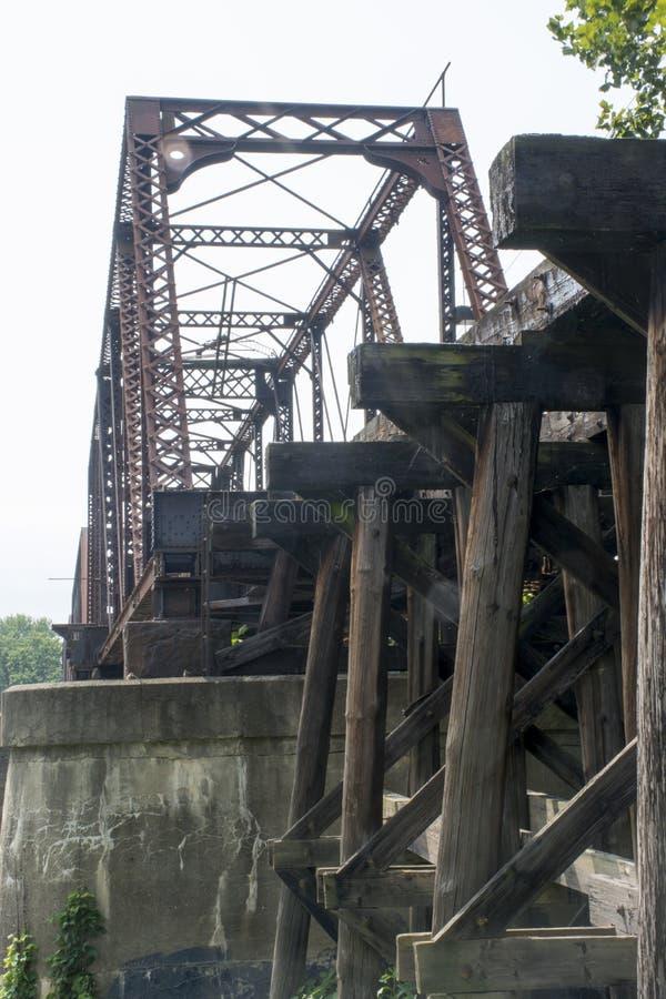 Historic railroad bridge Marietta Ohio. A very old and historic railroad bridge across the Muskingham River at Marietta Ohio, built on the original supports for royalty free stock photos