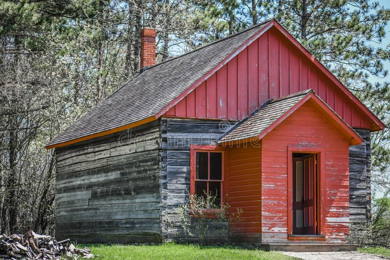 Red Weathered One Room Schoolhouse stock photography