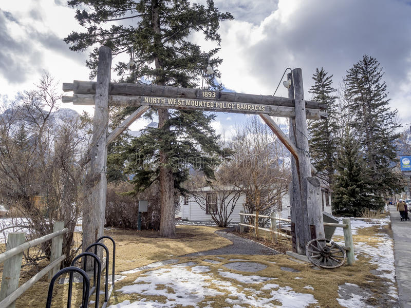Historic RCMP detachment. CANMORE, CANADA - FEB 19: Historic RCMP detachment on February 19, 2017 in Canmore, Alberta, Canada. Before Canmore became a mountain royalty free stock photo