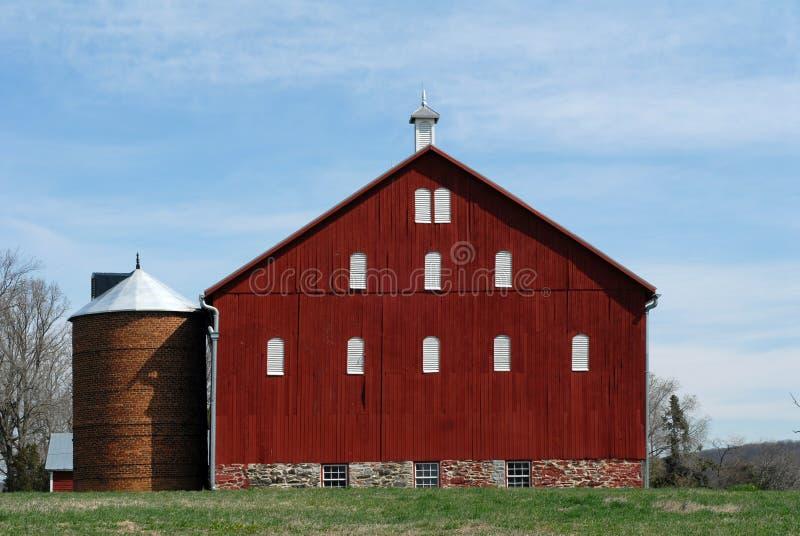 Historic red barn stock photo