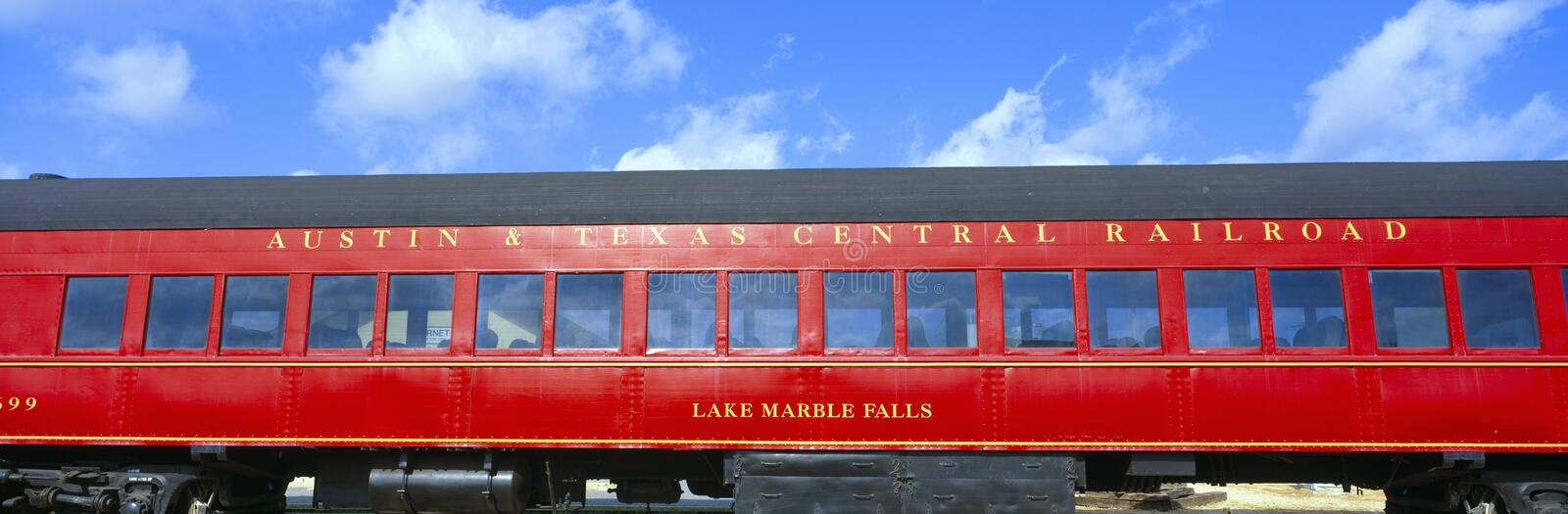 Historic red passenger car,. Austin & Texas Central Railroad royalty free stock image