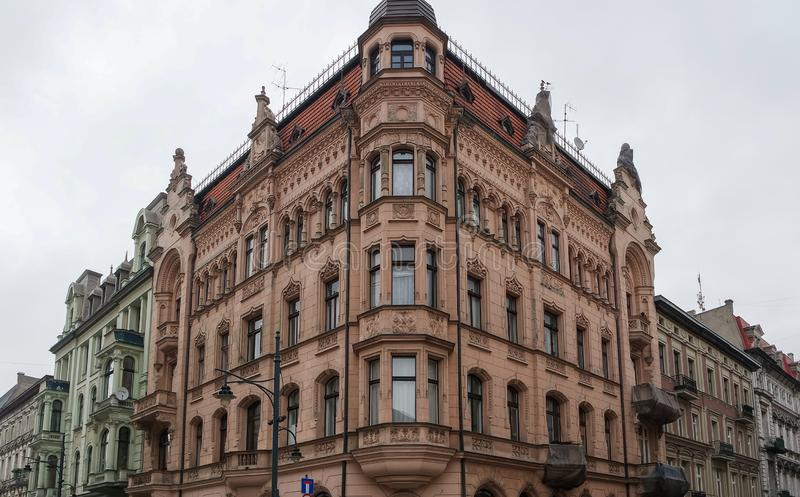 Historic residential building of the main street of Lodz, royalty free stock photography