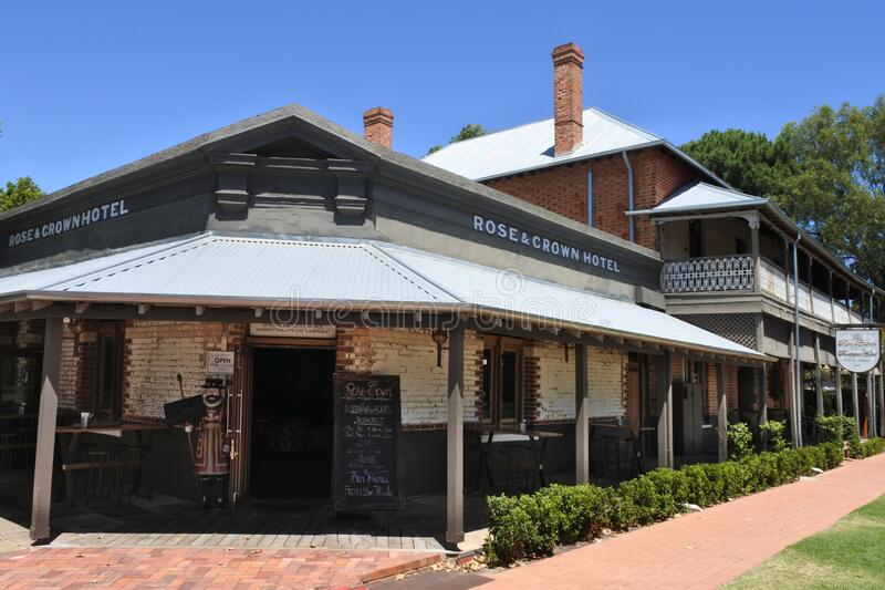 The historic Rose & Crown Hotel Guildford Perth Western Australia. The heritage-listed Rose & Crown is the oldest hotel in the state and the third oldest stock image