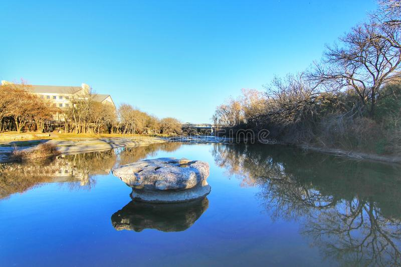 Historic Round Rock at Bushy Creek, namesake of the City of Round Rock, Texas, USA. Cityscapes of Round Rock in Texas stock photo