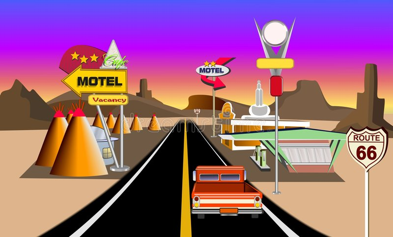 Download Historic  route 66 stock illustration. Illustration of service - 2479364