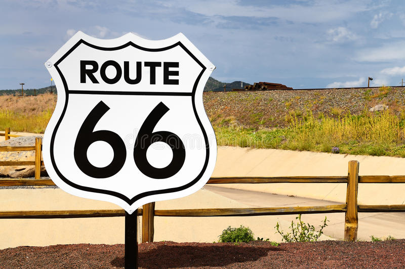 Historic Route 66 Road Sign Royalty Free Stock Photography