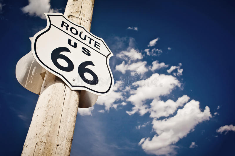 Historic route 66 route sign stock photos