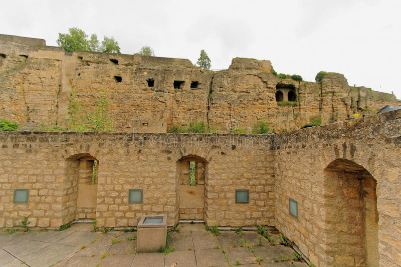 Historic ruined fortress in Luxembourg stock photography