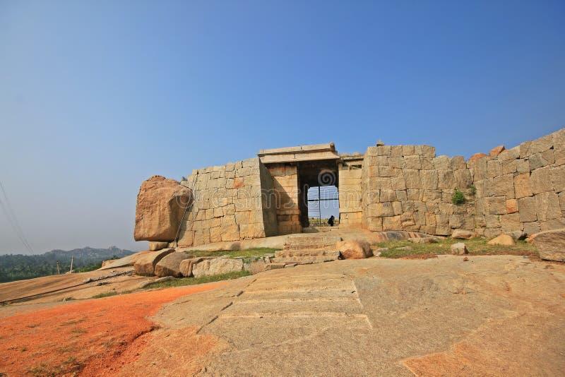 Historic ruins of a fort at Hampi, India royalty free stock photography