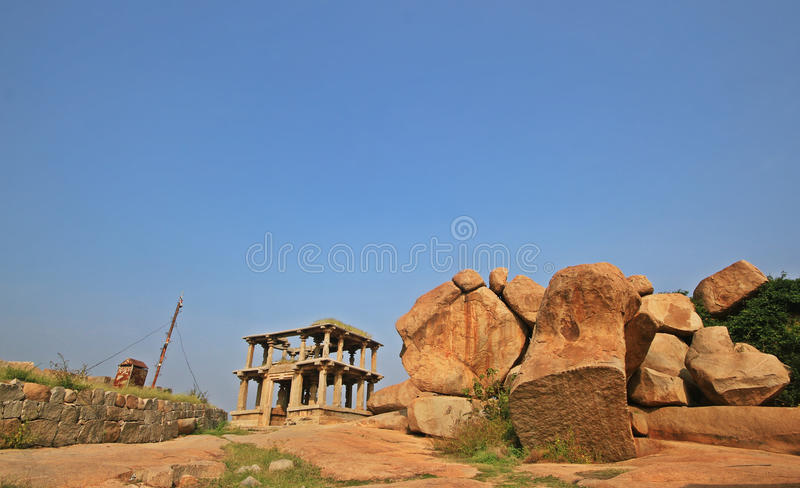 Historic ruins at Hampi in India royalty free stock images