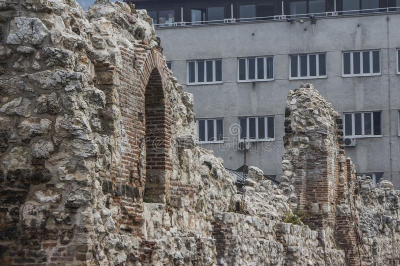 The historic ruins of `Tashlihan`, the remains of the medieval market in the Old City of Sarajevo. Bosnia and Herzegovina.  royalty free stock photos