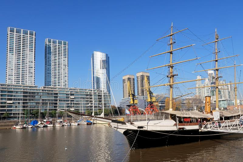 Historic sailing ship on Rio de la Plata river in the modern district Puerto Madero, Buenos Aires, Argentina stock photo