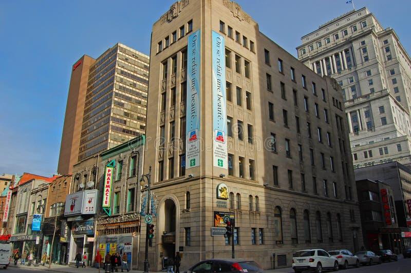 Saint Catherine Street, Montreal, Canada. Historic Saint Catherine Street at Metcalfe Street in Montreal, Quebec, Canada stock photos