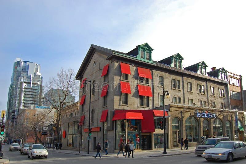 Saint Catherine Street, Montreal, Canada. Historic Saint Catherine Street at Mountain Street in Montreal, Quebec, Canada stock photography
