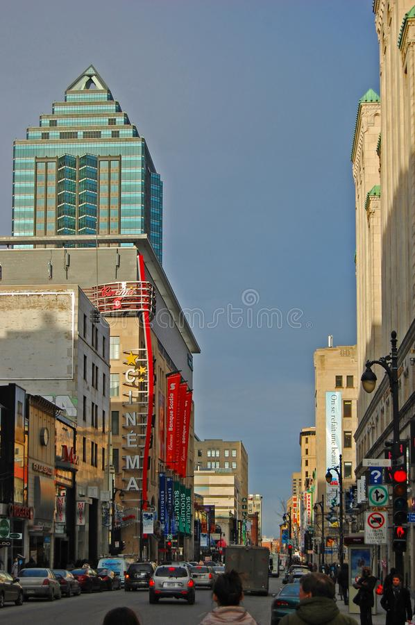 Saint Catherine Street, Montreal, Canada. Historic Saint Catherine Street at Peel Street in Montreal, Quebec, Canada royalty free stock images