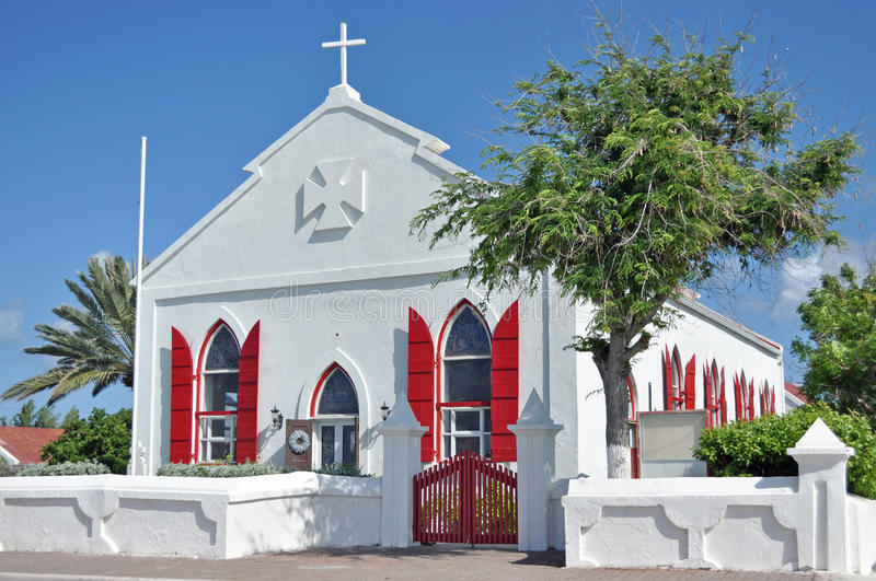 Historic Saint Marys Pro-Cathedral Angligan Episcopal in Cockburn Grand Turk Island. Designated Pro-Cathedral of the Diocese of the Bahamas and the Turks and royalty free stock photo
