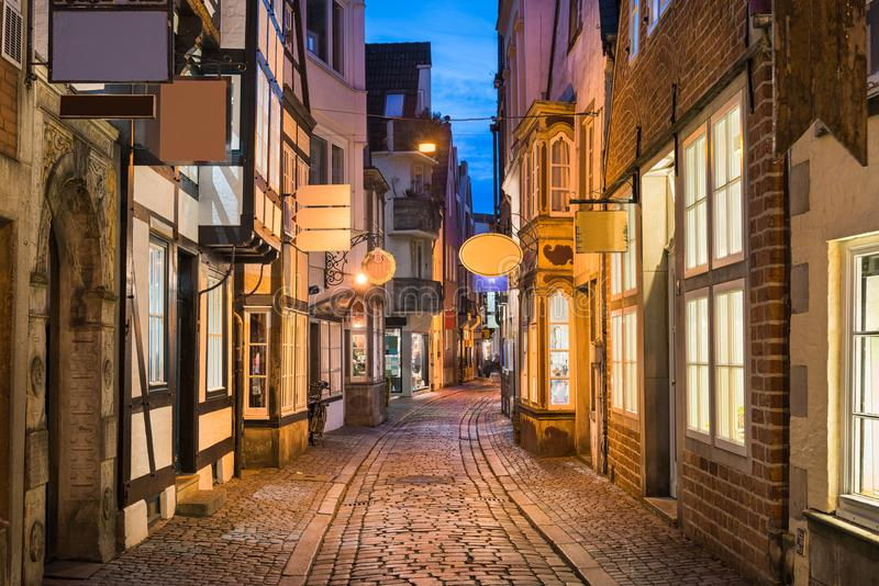 Historic Schnoor district in Bremen, Germany. At night royalty free stock photos