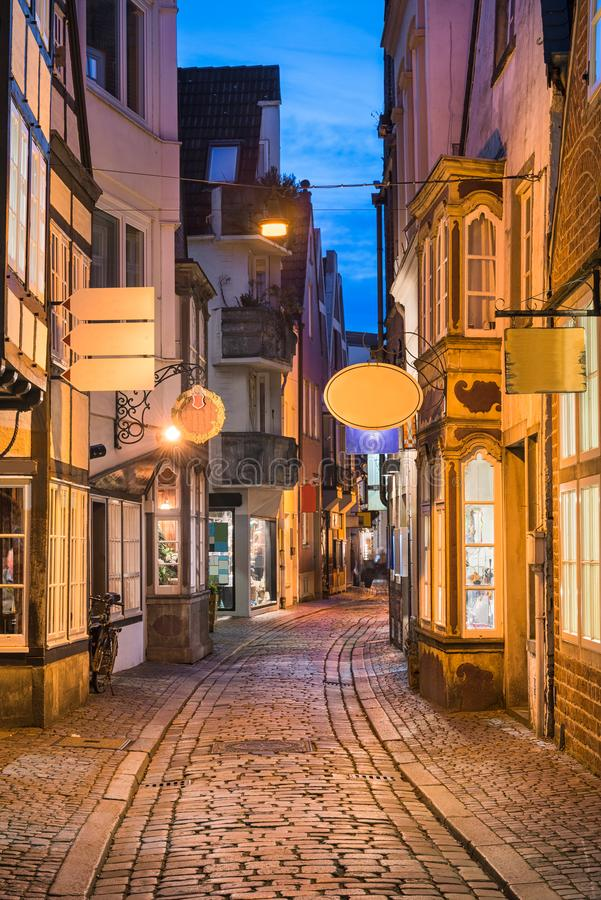 Historic Schnoor district in Bremen, Germany. At night royalty free stock image