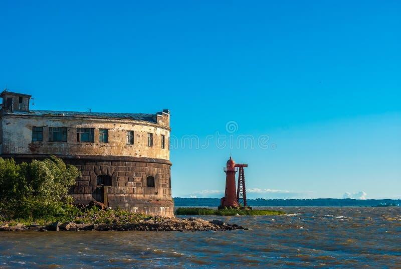 Historic sea fort near Kronshtadt, Saint-Petersburg. Abandoned fort in sea bay near Saint-Petersburg Russia stock photo