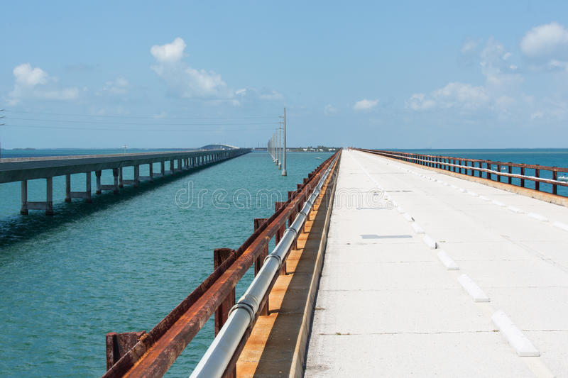 The Historic Seven Mile Bridge. The Seven Mile bridge was built by Henry Flagler as part of the Overseas Railroad to Key West. After a hurricane shut down the royalty free stock images
