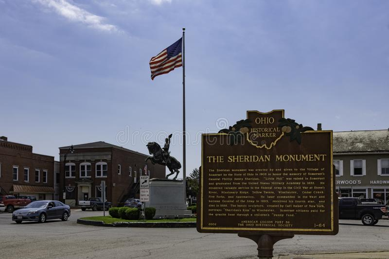 Historic Sheridan Monument in downtown Somerset royalty free stock photo