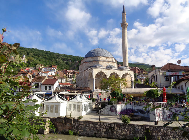 Historic Sinan Pasha Mosque, UNESCO world heritage site in the old town of Prizren royalty free stock photo