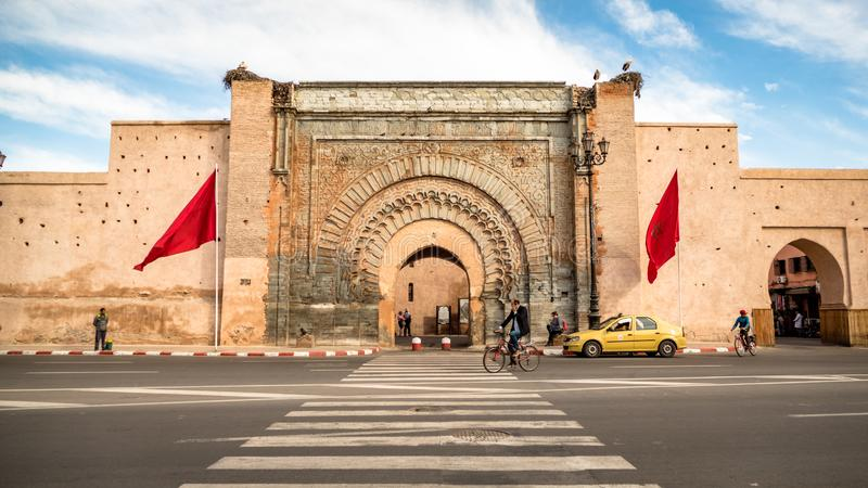 Historic Site of Bab Agnaou Gate in Marrakesh Morocco royalty free stock photo